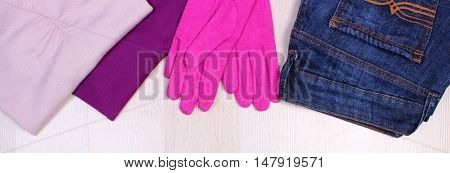 Womanly Clothes On Wooden Background, Clothing For Autumn Or Winter