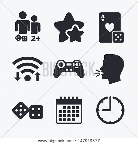 Gamer icons. Board games players signs. Video game joystick symbol. Casino playing card. Wifi internet, favorite stars, calendar and clock. Talking head. Vector