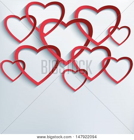 Trendy creative Valentines Day background with red cutting paper intertwined 3d hearts. Beautiful love card for Valentine's day. Vector illustration.