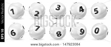 Lottery Number Balls. Black and white balls isolated. Bingo balls set. Bingo balls with numbers. Set of black and white balls. Realistic vector. Lotto concept. White Bingo Balls.