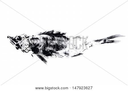 outline ink print on white ground, black fish stamp