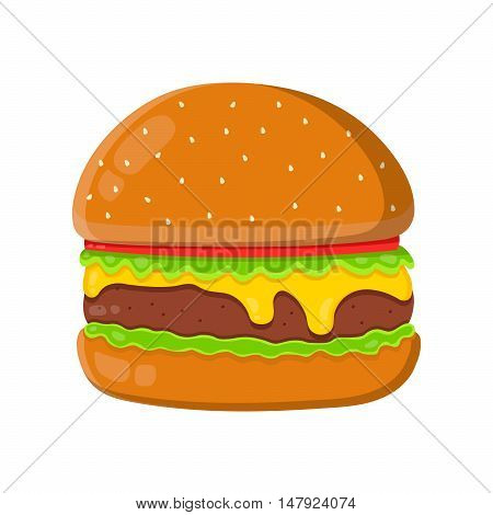 Cheeseburger isolated flat vector illustration isolated on white background. Cheeseburger ingredient, original burger recipe