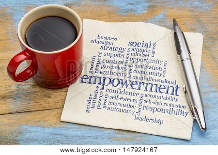empowerment word cloud - handwriting on a napkin with a cup of coffee