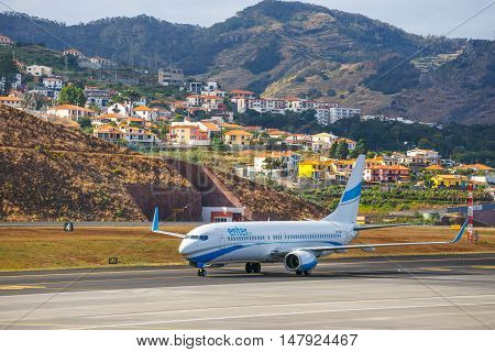 Funchal, Madeira - July 6, 2016: Enter Air Boeing 737 Lands At Funchal Cristiano Ronaldo Airport. Th
