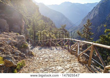 view of Samaria Gorge on Crete Grece