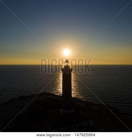 Lighthouse at sunset  in Veli Rat in Croatia