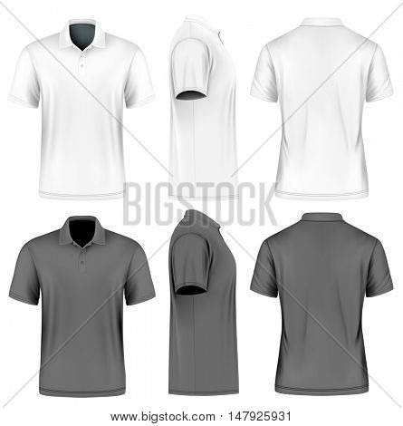 Men's short sleeve polo shirt. Front, back and side views. White and black variants. Vector illustration. Fully editable handmade mesh.