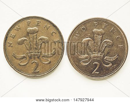 Vintage Uk 2 Pence Coin