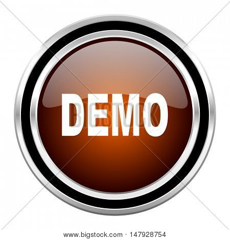 demo round circle glossy metallic chrome web icon isolated on white background
