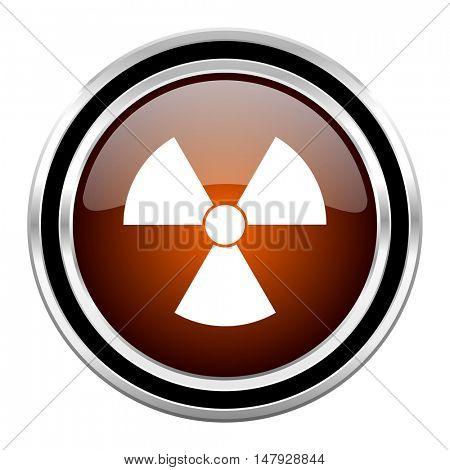 radiation round circle glossy metallic chrome web icon isolated on white background