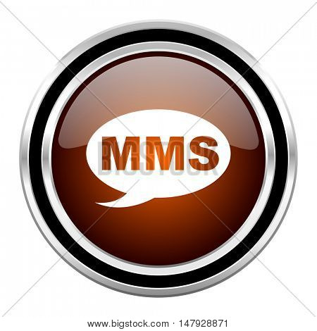 mms round circle glossy metallic chrome web icon isolated on white background