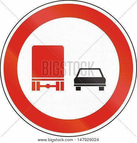 Hungarian Regulatory Road Sign - No Overtaking For Trucks
