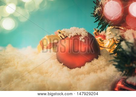 Red Chrismas Ball On Snow With Chrismas Tree Background Vintage Old Tone