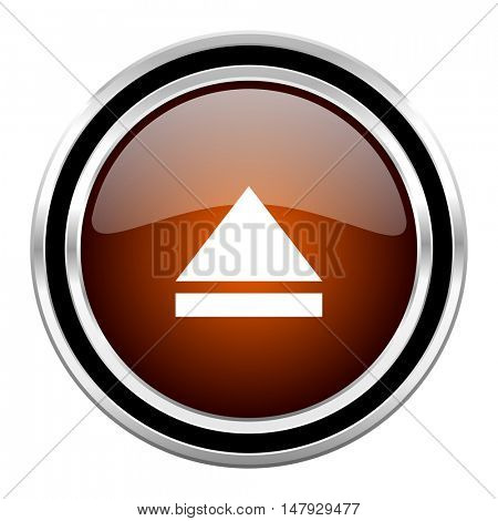 eject round circle glossy metallic chrome web icon isolated on white background