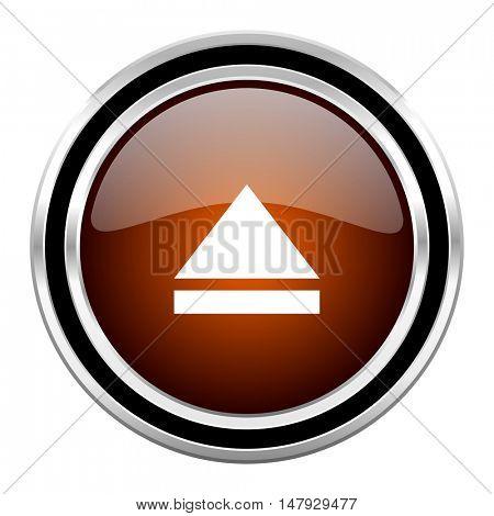 eject round circle glossy metallic chrome web icon isolated on white background