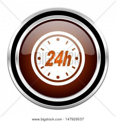 24h round circle glossy metallic chrome web icon isolated on white background