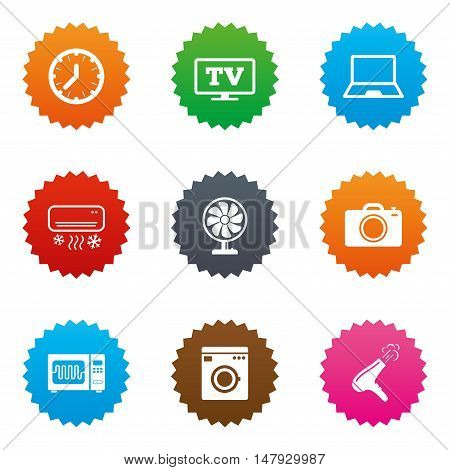 Home appliances, device icons. Electronics signs. Air conditioning, washing machine and microwave oven symbols. Stars label button with flat icons. Vector