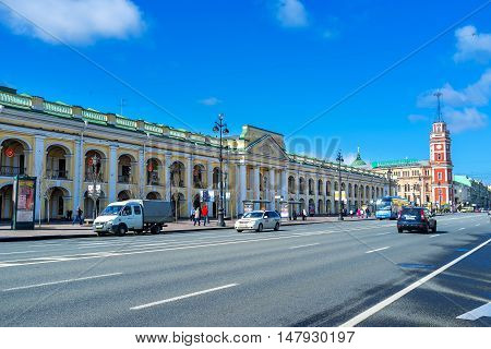 SAINT PETERSBURG RUSSIA - APRIL 25 2015: The Great Gostiny Dvor is the oldest in city vast department store and the first in Europe shopping arcades on April 25 in Saint Petersburg.