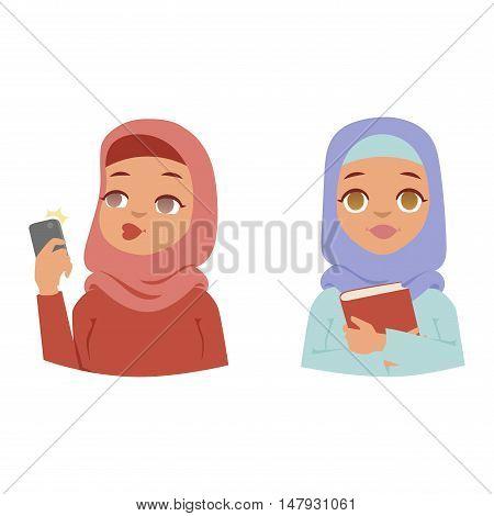 Muslim religious women traditional islamic adult. Cute cartoon arabic girl traditional dress pretty ethnicity religious people. Arabic women ethnic portrait beautiful hijab.