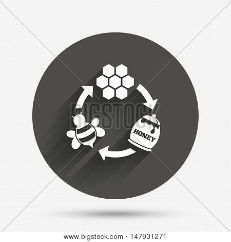 Producing honey and beeswax sign icon. Honeycomb cells symbol. Honey in pot. Sweet natural food cycle in nature. Circle flat button with shadow. Vector