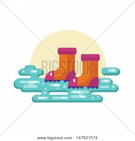 Flat design vector illustration of autumn or spring symbol - rubber boots standing in puddle.