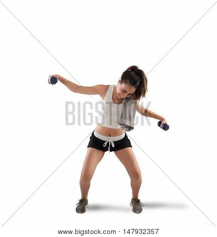 Awkward girl trying to lift weights during workout