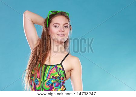 Young Woman Girl In Swimsuit. Summer Holiday.