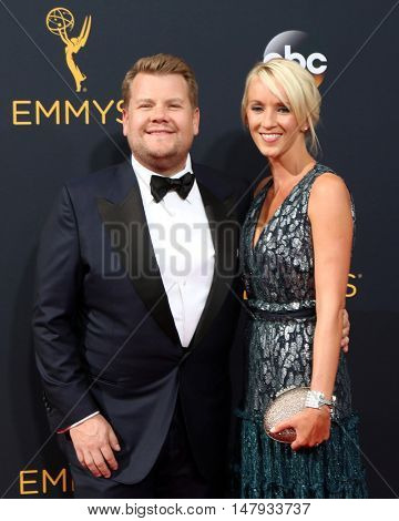 LOS ANGELES - SEP 18:  James Corden, Julia Carey at the 2016 Primetime Emmy Awards - Arrivals at the Microsoft Theater on September 18, 2016 in Los Angeles, CA