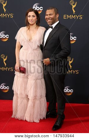 LOS ANGELES - SEP 18:  Chelsea Peretti, Jordan Peele at the 2016 Primetime Emmy Awards - Arrivals at the Microsoft Theater on September 18, 2016 in Los Angeles, CA