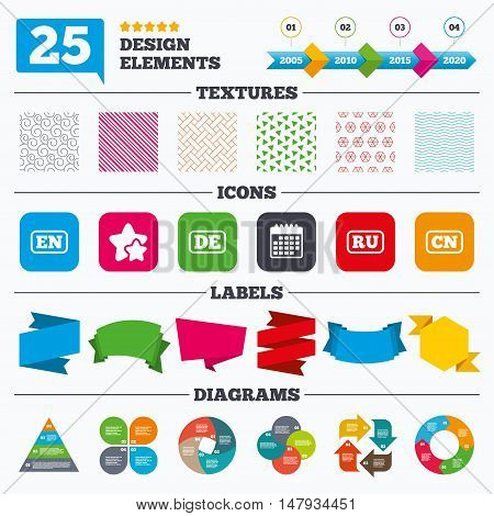Offer sale tags, textures and charts. Language icons. EN, DE, RU and CN translation symbols. English, German, Russian and Chinese languages. Sale price tags. Vector
