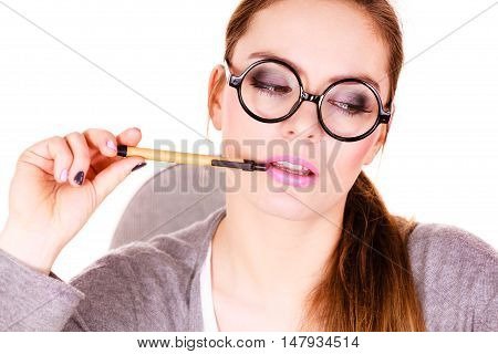 Woman Thinking Holds Pen