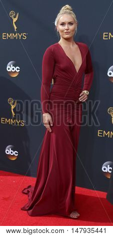 LOS ANGELES - SEP 18:  Lindsay Vonn at the 2016 Primetime Emmy Awards - Arrivals at the Microsoft Theater on September 18, 2016 in Los Angeles, CA