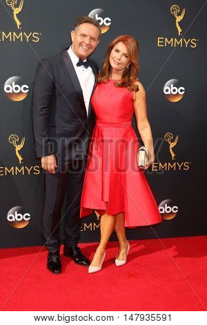 LOS ANGELES - SEP 18:  Mark Burnett, Roma Downey at the 2016 Primetime Emmy Awards - Arrivals at the Microsoft Theater on September 18, 2016 in Los Angeles, CA
