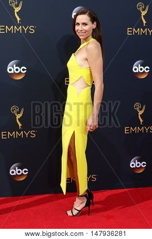 LOS ANGELES - SEP 18:  Minnie Driver at the 2016 Primetime Emmy Awards - Arrivals at the Microsoft Theater on September 18, 2016 in Los Angeles, CA