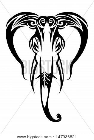 illustration of a tribal elephant tattoo isolated on white background