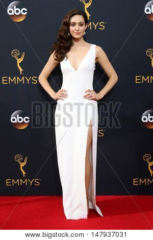 LOS ANGELES - SEP 18:  Emmy Rossum at the 2016 Primetime Emmy Awards - Arrivals at the Microsoft Theater on September 18, 2016 in Los Angeles, CA