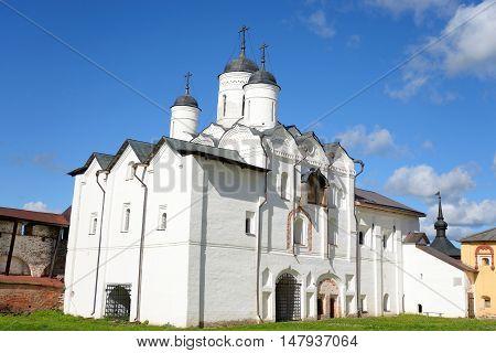 Gate Church of the Transfiguration in Kirillo-Belozersky monastery near City Kirillov Vologda region Russia.