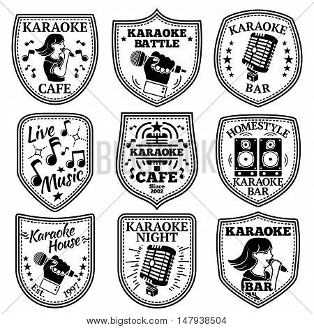 Vector set of Karaoke labels, badges etc