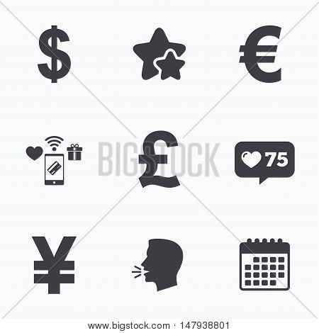 Dollar, Euro, Pound and Yen currency icons. USD, EUR, GBP and JPY money sign symbols. Flat talking head, calendar icons. Stars, like counter icons. Vector