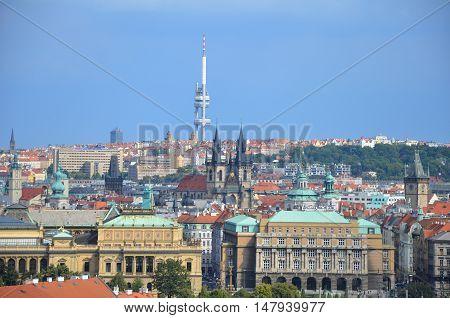 Prague TV tower with blue sky, Czech Republic