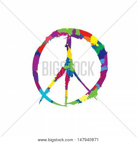 peace sign. Peace icon. Love & peace multicolor symbol isolated.