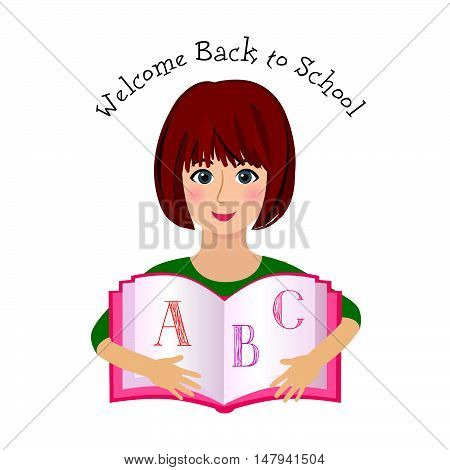 Cheerful smiling little girl over white background with ABC learning book. Welcome back to school concept