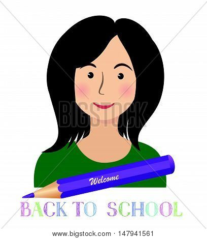 Cheerful smiling little girl with crayon pencil and lettering. Back to school concept background