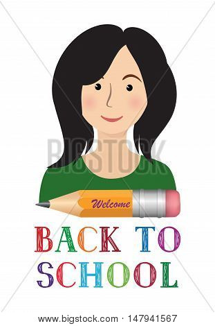 Cheerful smiling little girl with pencil and lettering. Back to school concept banner