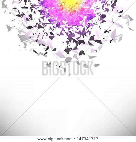 Explosion Cloud of Grey Pieces on White Background. Sharp Particles Randomly Fly in the Air.