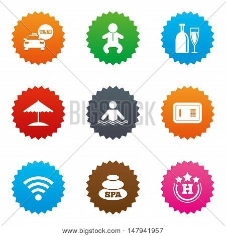 Hotel, apartment service icons. Spa, swimming pool signs. Alcohol drinks, wifi internet and safe symbols. Stars label button with flat icons. Vector