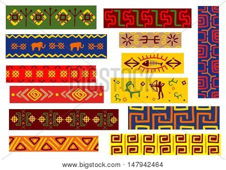 Ethnic african patterns set with floral, geometric and animal ornaments with tribal decorative elements and hunting scene