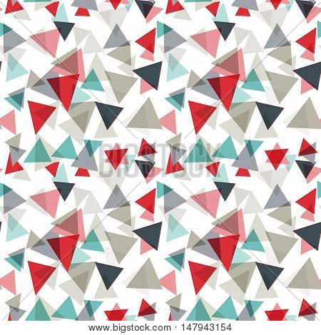 Vector pattern with random triangles in various colors and sizes. Modern background with simple geometric shapes. Seamless texture.