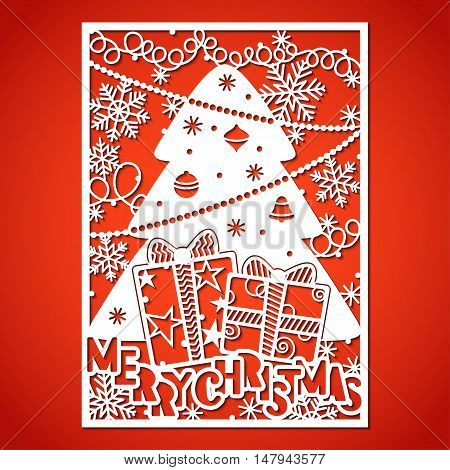 Christmas tree with decorations. Laser Cutting template for greeting cards envelopes invitations interior elements.