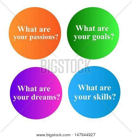 Conceptual questions insde colorful circles isolated on simple white background